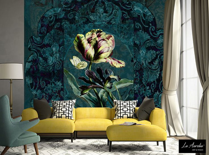 Stunning wallpaper-design, with rich & warm colors and lovely details. This beautiful piece of wallart called 'Jardin' is designed & produced by 'La Aurelia' Art & Walls, the Netherlands. #wallart #wallcovering #wallcovers #behang #LaAurelia #interior