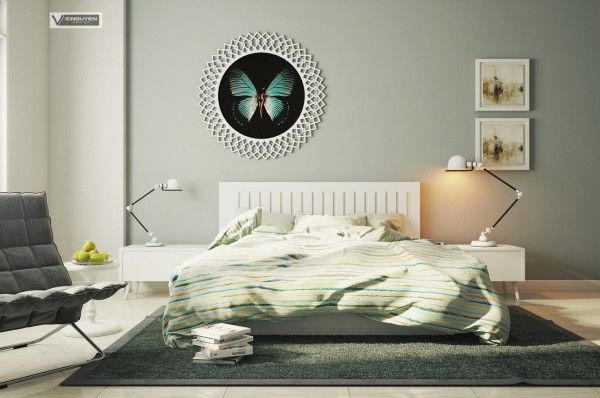 Bedroom:Remarkable Modern Bedrooms: Apartment Master Bedroom Butterfly Wall Art In Modern Bedroom With Low Platform Bed Side Tables And Lamp Tables Grey Armless Chair And Rug Area Wooden Flooring