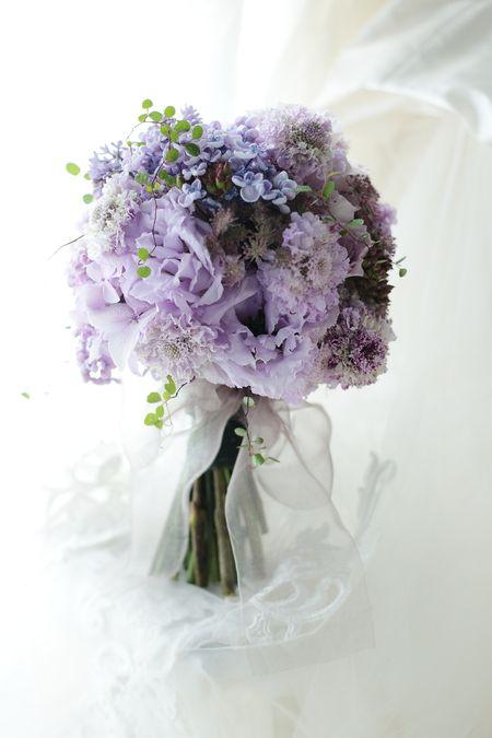 初夏のブーケ 淡紫 ライラック・アジサイ・トルコキキョウ