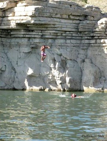 Cliff Jumping at Lake Pueblo, Colorado - Beware of park rangers - they love to give out tickets for this!