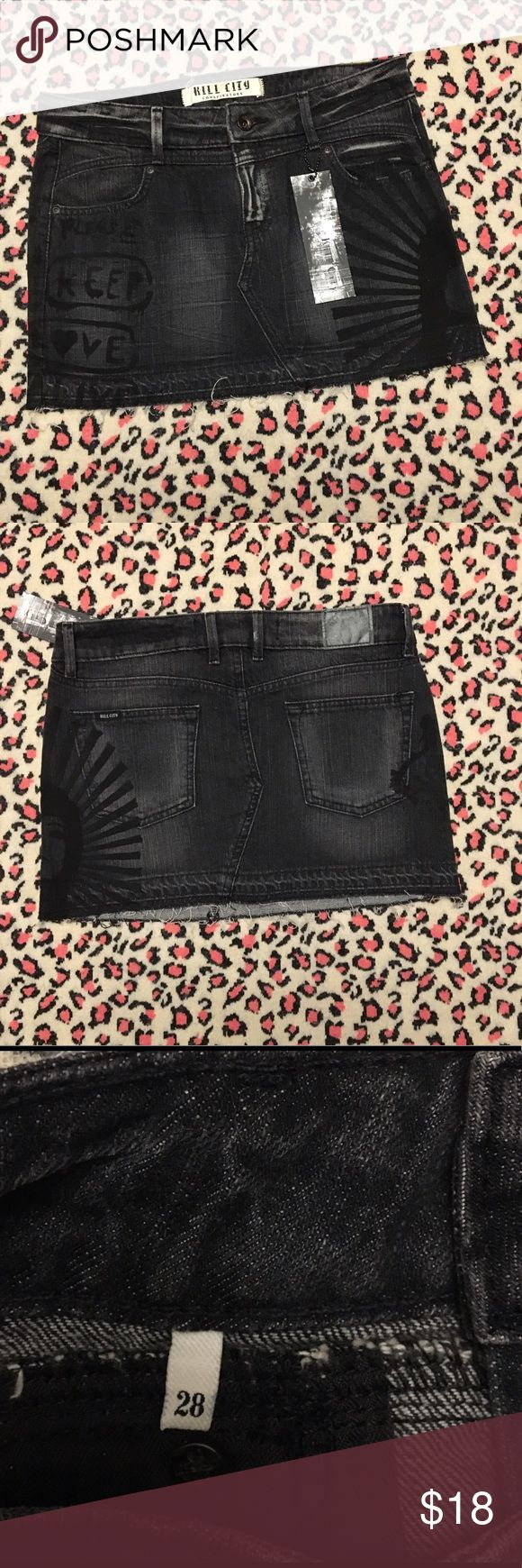 "NWT Kill City Conspirators dark denim mini skirt New with tags, size 28, total length 12.5"", waist 15.5"", hips 17"". 100% cotton. Lightly frayed/distressed trim. Skirts Mini"