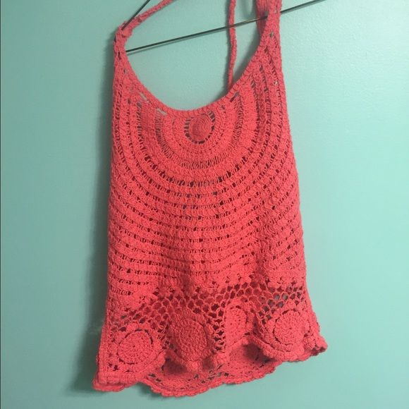 Surf Gypsy Crochet Halter  Adorable crocheted halter by Surf Gypsy for Ocean Drive. Coral color. Good condition- only worn a few times. Surf Gypsy Tops Crop Tops