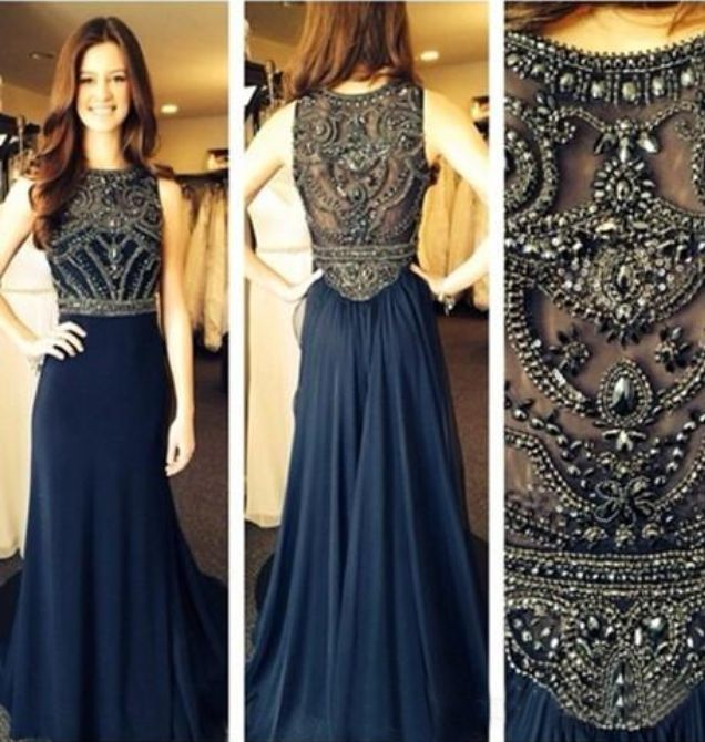 Brilliant Beading Navy Blue Prom Dress Long Evening Formal Party Dress Plus Size #sunvary #Maxi #Formal