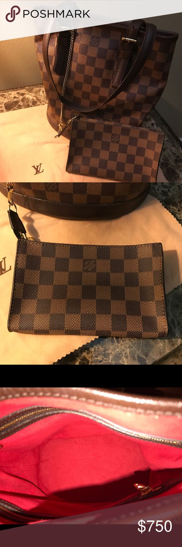 Louis Vuitton Damier Ebene Bucket Bag Pristine Condition! With Dust Bag and Pouchette. Date Code:DK0124. Like new! Louis Vuitton Bags Shoulder Bags