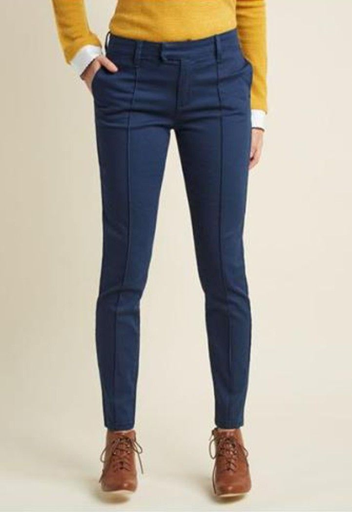 Pin De Mgt Maribel Leyva Gaxiola En Style Me Pretty Outfits Pantalon Azul Marino Mujer Pantalones De Vestir Pantalones Verdes Mujer