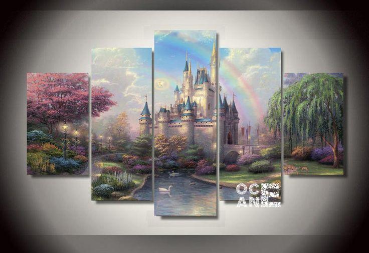 mosaic rainbow castle scenery needlework multi-pictures 3D diamond embroidery diy full square diamond painting cross stitch D749 #Affiliate