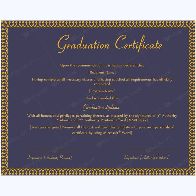 13 best Graduation Certificate Templates images on Pinterest - ms word certificate template