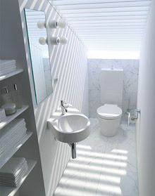 For narrow bathrooms or those with sloping roofs: the diagonal Architec handrinse basin.