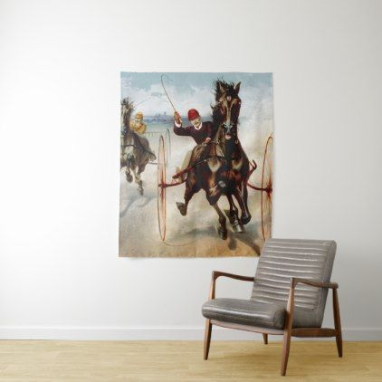 Vintage Harness Racing Tapestry - vintage gifts retro ideas cyo