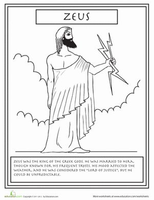 greek gods pictures printable coloring pages | Greek Gods: Zeus | Mythology, Coloring books and Social ...