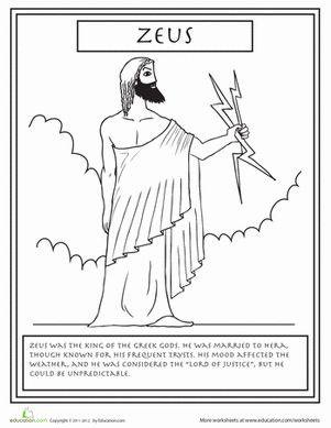 greek gods coloring pages for kids | Greek Gods: Zeus | Mythology, Coloring books and Social ...