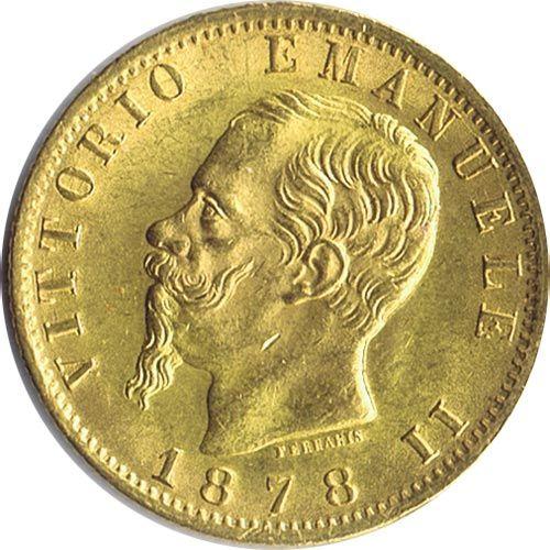 Moneda de oro 20 liras Italia 1878 Roma.
