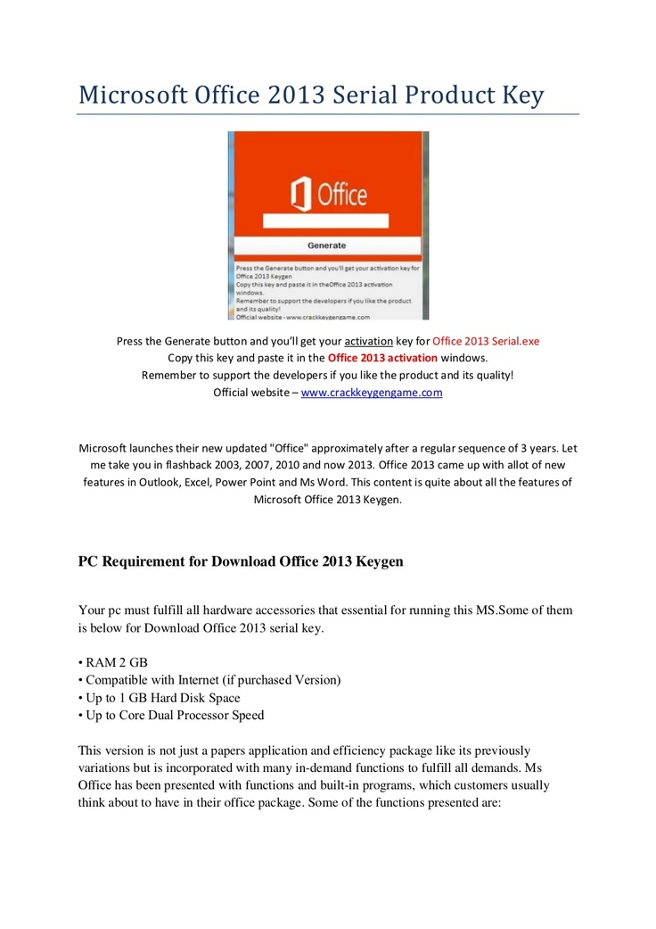 ms office 2013 free download with product key full version