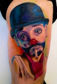 Tattoo of Clown with a cigarette in his mouth