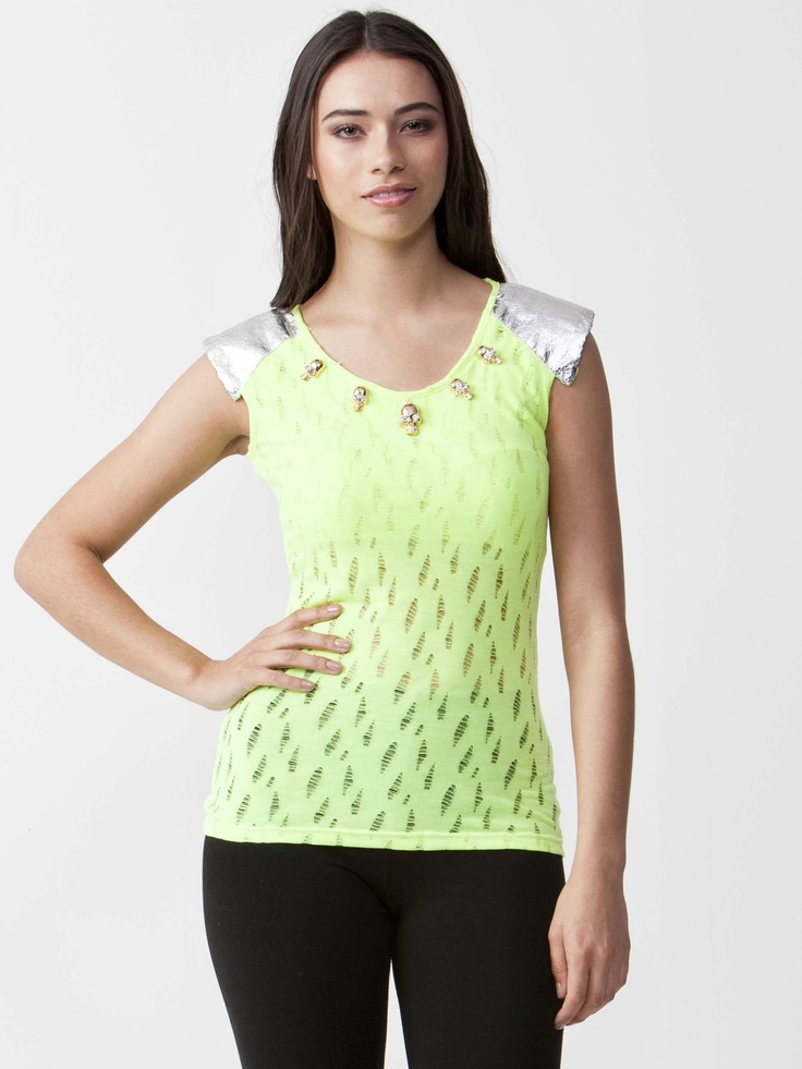Misty - Lime Top with round neckline.  Gold Skull detailing on neckline with short sleeve styling. Silver Short sleeve trim and slim fit cut. $44.00