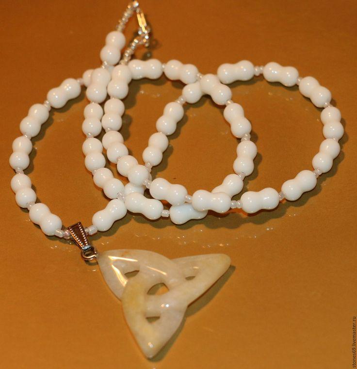 Купить Колье-нефрит белый натуральный-трикветр-триквестр-агат белый.. - белый, необычный подарок