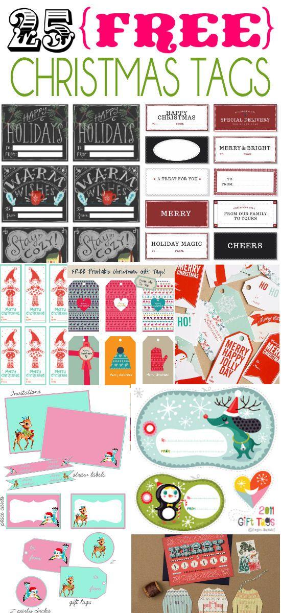 25 Free Christmas Tags