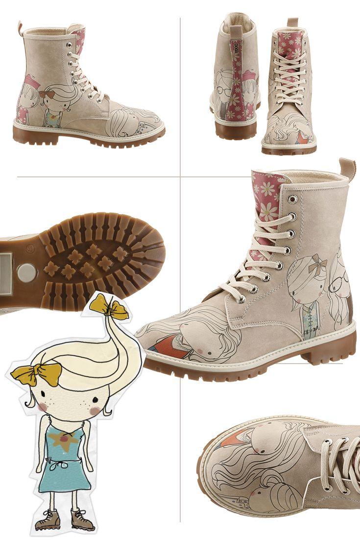 Auf Schritt und Tritt im Trend sein? Kein Problem mit den originellen Schnürstiefeletten von Dogo – dank der fantasievollen Illustrationen erzählt jedes Schuhdesign seine ganz eigene Geschichte.