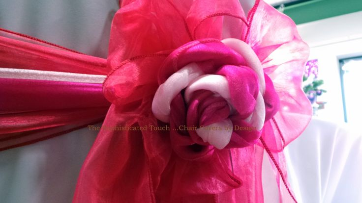 Fancy tied Bow in Red and Pink Organza  The Sophisticated Touch ...Chair Covers by Design