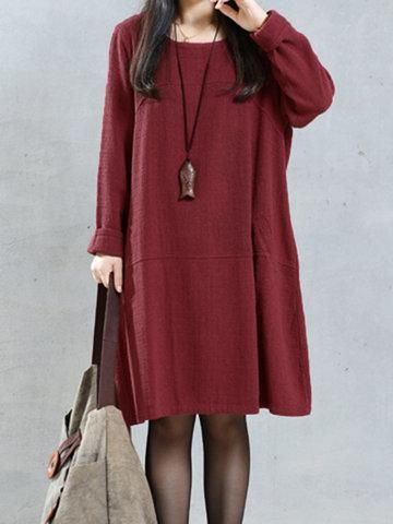 b0d8133869f  Valentine s Day Sale!  AdoreWe  NewChic -  NewChic O-NEWE Solid Pockets Long  Sleeve Dress - AdoreWe.com