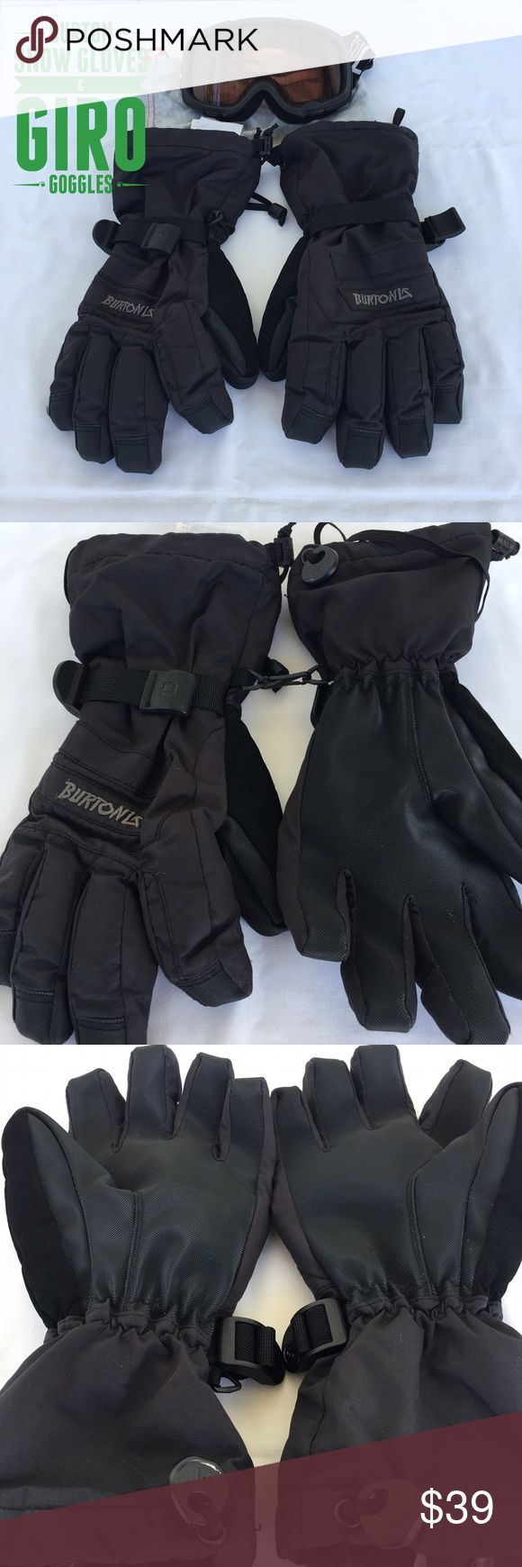 BURTON Snow Gloves & GIRO Goggles Black Burton Snow Gloves size Boys/Youth XL or Women's Small  Giro Snow Goggles has some minor scratches.  Barely noticeable (as seen on pics). Burton Accessories Gloves & Mittens