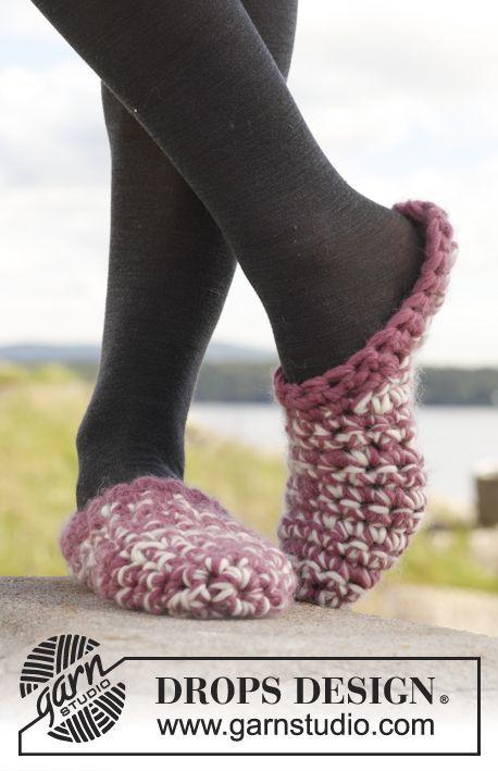 "Crochet DROPS slippers in ""Eskimo"" ~ freebie pattern, thanks so for scrummy share xox"