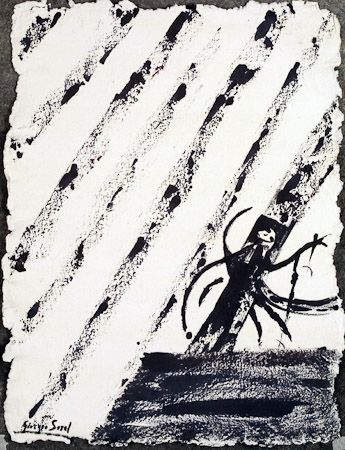 In the church there is black quiet, 1998, ink on fine shimmed paper, 72x54 cm