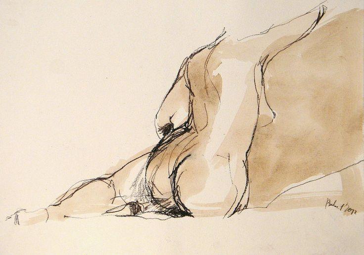 "Saatchi Online Artist: Robert Bubel; Charcoal, 2012, Drawing ""'Raised arm. Nude'"""