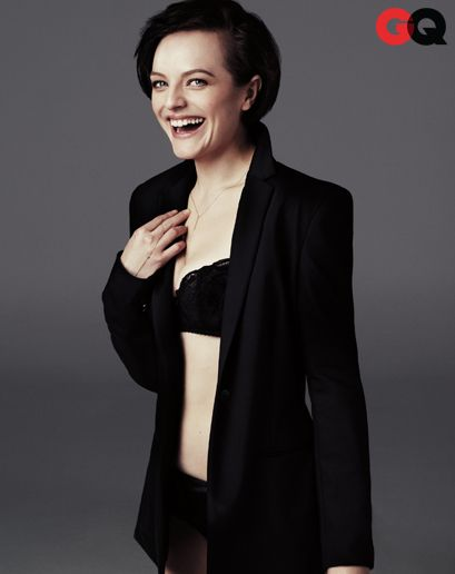 GQ | Elizabeth Moss - Blazer by The Row. Bra and panties by Agent Provocateur. Necklace by Loren Stewart. Bracelet by Elodie K.