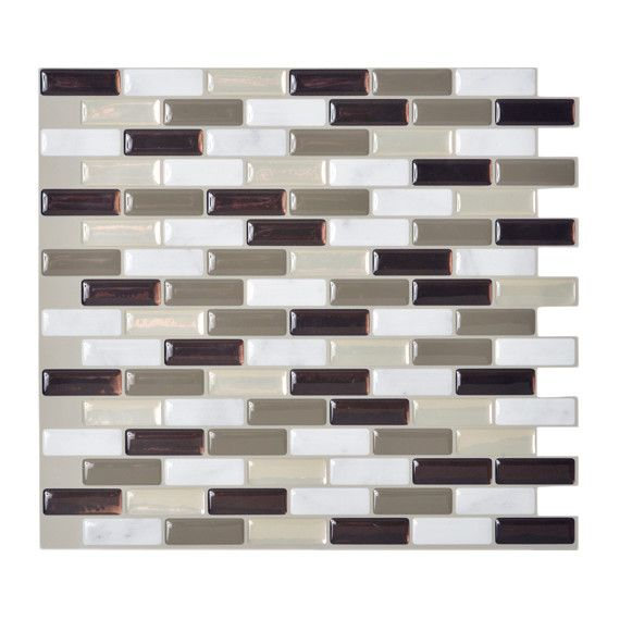 Mosaik Murano Stone 10 20 X 9 L Stick Wall Tile In Taupe White Gray