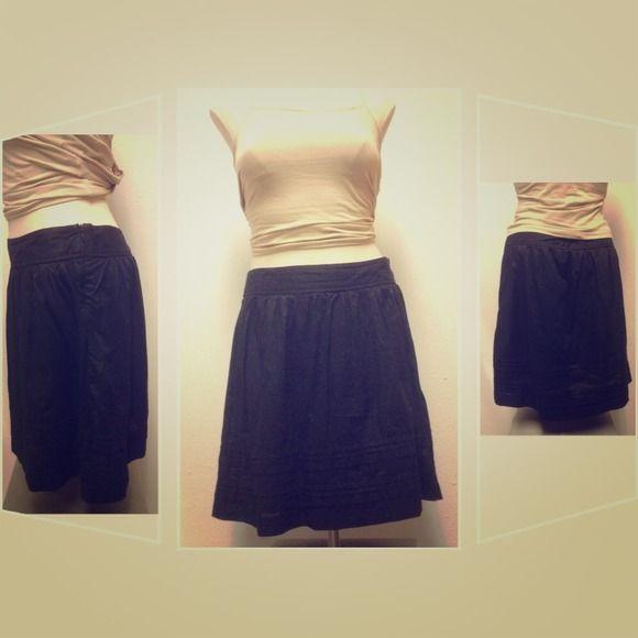 Ann Taylor LOFT a-line black skirt A-line black skirt with side zipper. Lightweight & thin, 100% cotton with cotton lining. Hook (of hook&eye closure) is loose. LOFT Skirts