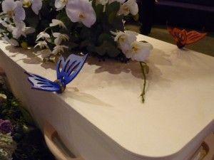 Grafkistenmaker Radboud Spruit (www.grafkist.nl) heeft sluitingen ontworpen in de vorm van vlinders. Een grote houten vlindersluiting die past op de standaard fabriekskist. en gebruikt kan worden in plaats van de standaard knoppen. De vlinders worden geleverd in blanco hout en zouden evt. geschilderd kunnen worden. Als onderdeel van de uitvaart kun je samen de kist sluiten.