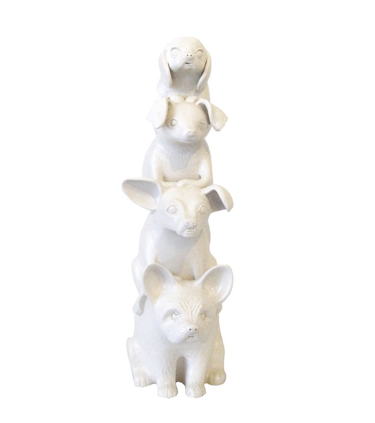 Dog Totem. Handbuilt unique sculpture. Art, ceramics, symbols, animals. Aura Kajas 2016