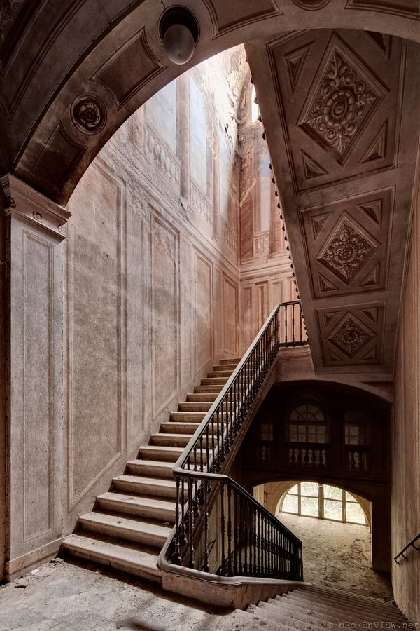 staircase in an abandoned castello in Italy