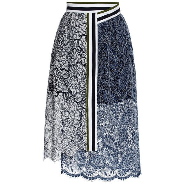 Preen By Thornton Bregazzi Lace Amara Skirt In Navy And White found on Polyvore
