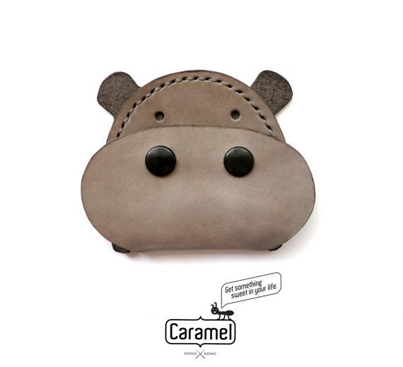 Hand Stitched Leather Coins Case Hippo by CaramelLeatherCrafts