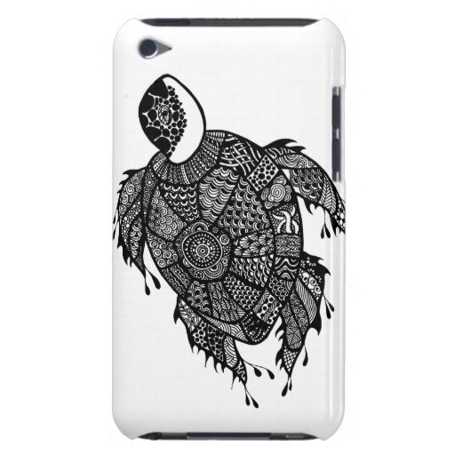 Turtle hand drawn art iPod case Barely There iPod Cases