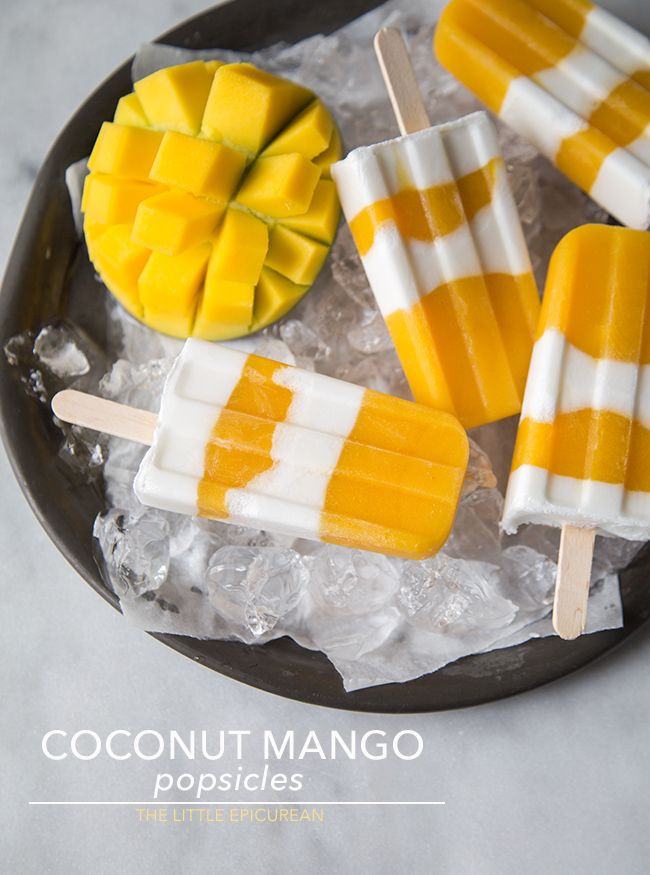 Coconut Mango Popsicles - #recipe #popsicle #mango