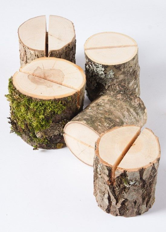 "Set of 5 assorted wood holders.   These stumps to hold your wedding table numbers, menu cards, signs, photographs, postcards and much more.  Made from differnt trees- hazel, elm ash, plum tree, oak , etc.    Height of these card holders is (6 cm). 1"" 3/8 – 2 3/4 diameter (3-7cm).  The slit in the top is 1"" deep and 1/8"" wide, so it can hold even thick paper or a few thin papers.  ***This product may be a little different than you see on pictures, because of the wood material ca..."