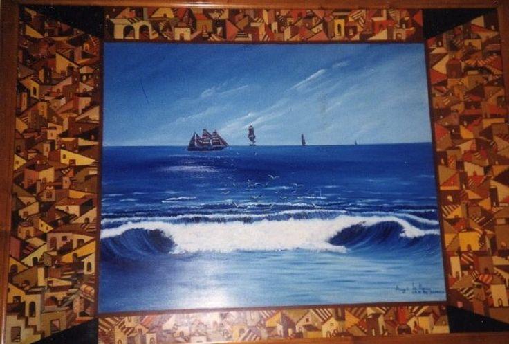 My art olio su legno, labirinto con uscita sul mare!!