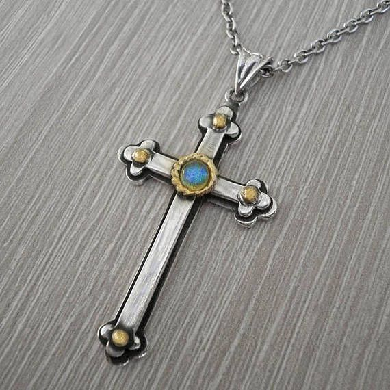 Mens silver crossmens cross necklacegarnet gold