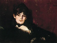 Portrait of painter Berthe Morissot by Eduard Manet. She looks a little drunk
