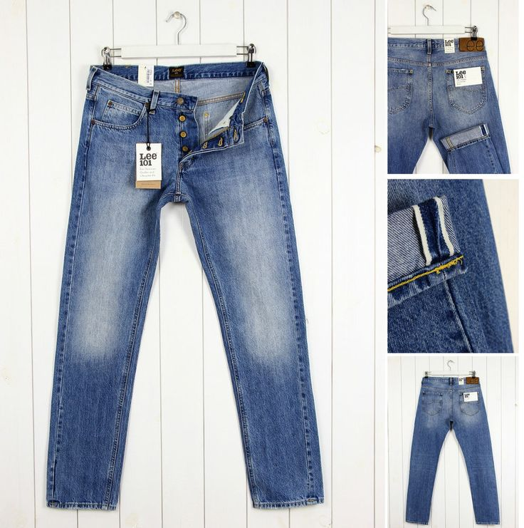 NEW  LEE 101S 13Oz  DENIM  JEANS SELVAGE TAPERED LIGHT BLUE SLIM  FIT_ ALL SIZES