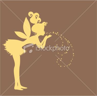 Fairy blowing stardust silhouette Royalty Free Stock Vector Art Illustration. MY FAVORITE.