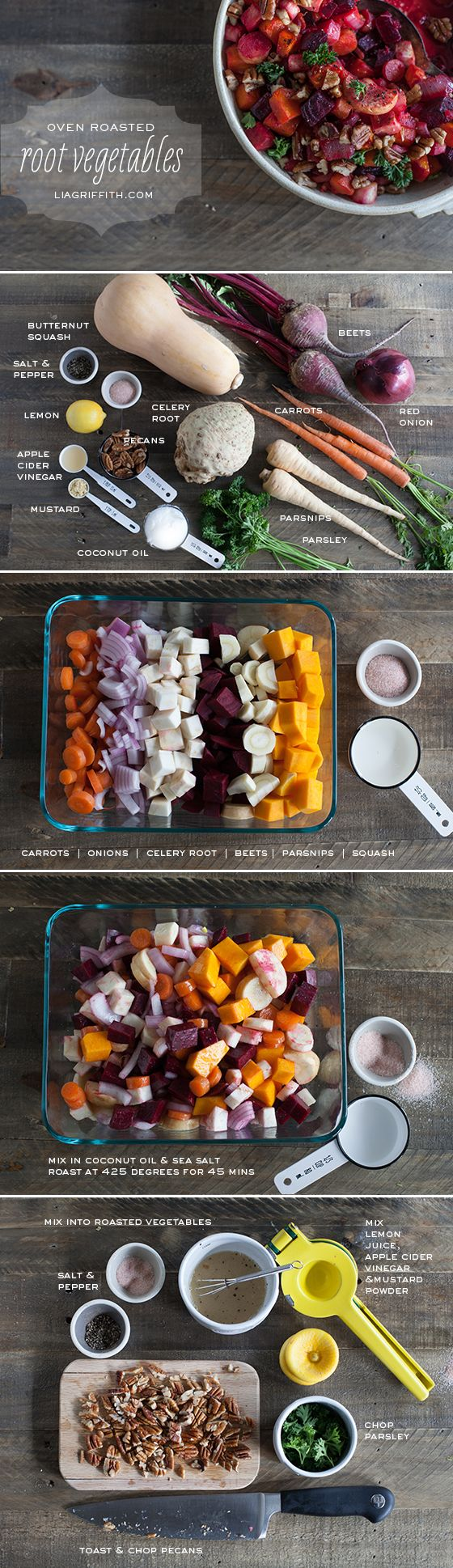 Food Lover Friday: Oven Roasted Root Vegetables :: Hey... Why not? Not sure about the celeriac but I may have a go because we just love oven roasted vegetables!