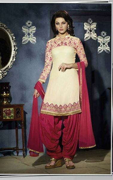 Picture of Iconic Light Cream Georgette Patiala Salwar Kameez