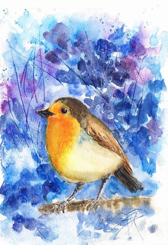 A Cutelonely Robin Perched Atop A Tree Watercolors And Ink On 300