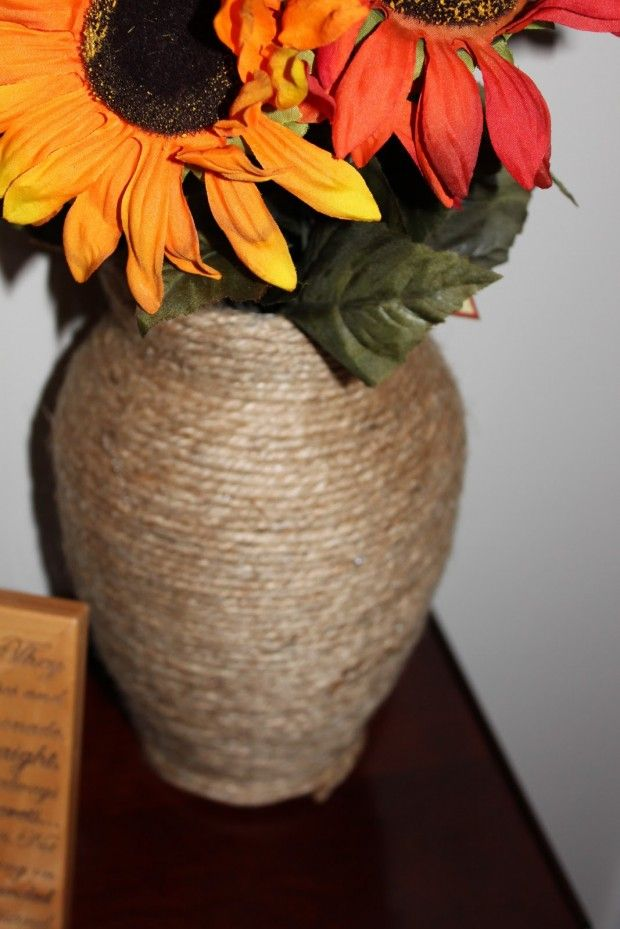 Twine Vase - 23 Amazing DIY Fall Decorations for Your Home