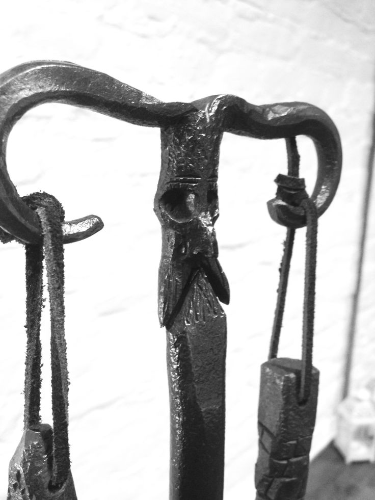 Fireplace tools. Hand forged.