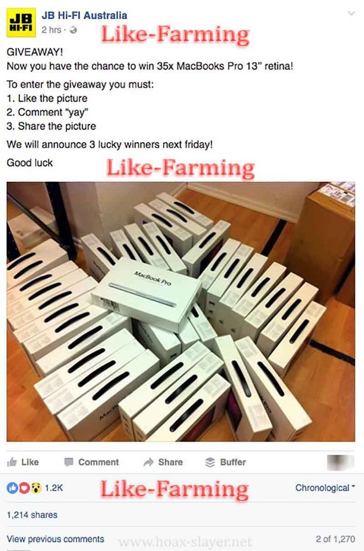 JB Hi-Fi Like Farming Scam Post
